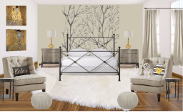 Master Bedroom black, white and brass
